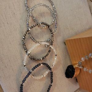Beaded Stretch Bracelet Set of Five